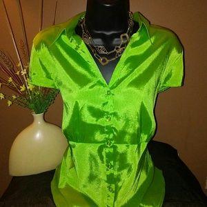 EyeCatching Electric Lime Dress Blouse.
